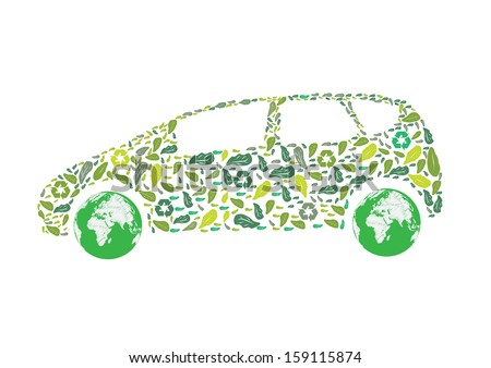 Car silhouette with green leaves. Vector Eco illustration.