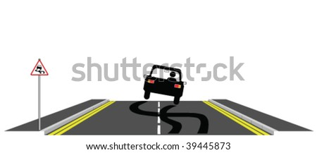 Car skidding across the road past warning sign