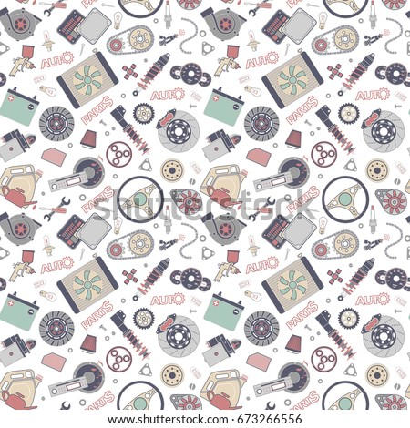 Car spare parts flat icons seamless pattern on white background