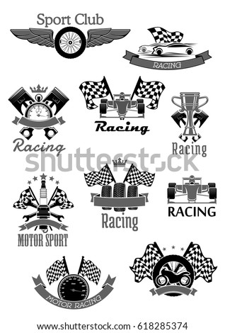 Car speed racing sport icons. Motor rally sport club symbols set of vector sportscar engine piston, wheel tires and checkered flag for bike championship or tournament. Victory ribbons and winner cup