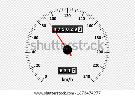 Car speedometer at transparent background. Speedometer with speed scale and kilometer counter. Vector illustration. Foto stock ©