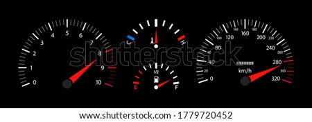 Car speedometer, dashboard, tachometer and temperature gauge. Vehicle with digital display. Scale of gage of fuel, speed, rpm. 3d panel with instrument. Velocity motorbike or car with odometer. Vector Foto d'archivio ©