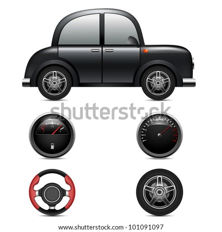 Car, speedometer, steering wheel, car wheel and fuel level on a white