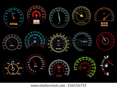 car speedometers on black