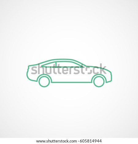 car sport coupe green line icon