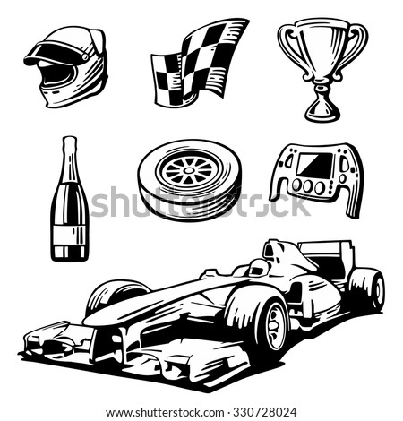 car sport set symbols   racing