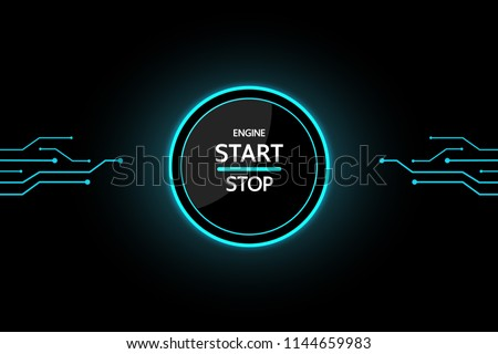 Car Start Button on black background modern design for future. Stock photo ©
