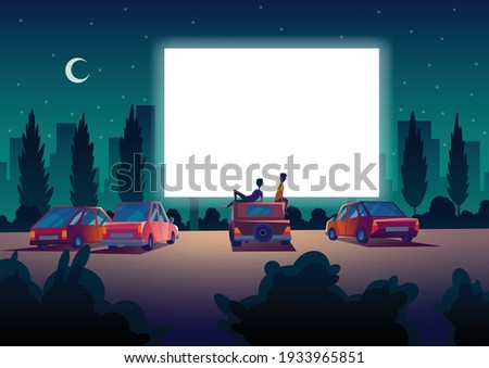 Car street cinema. Drive-in theater with automobiles stand in open air parking at night. Large outdoor screen. Cinema night vector banner in cartoon style
