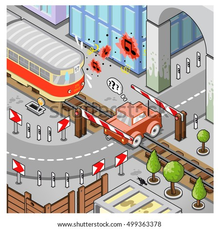 Car stuck on railroad tracks while train is approaching giving warning signals. Scene set in city architecture (isometric view illustration)