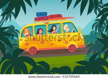 car summer trip vector