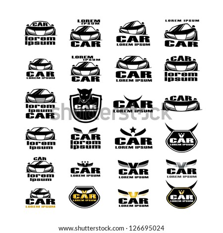 car symbols isolated on white