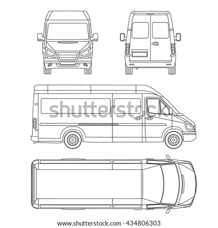 car template. White blank commercial vehicle - delivery van, bus