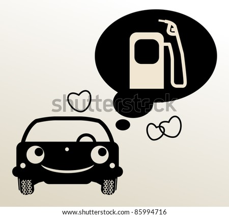 car thinking about fuel  vector