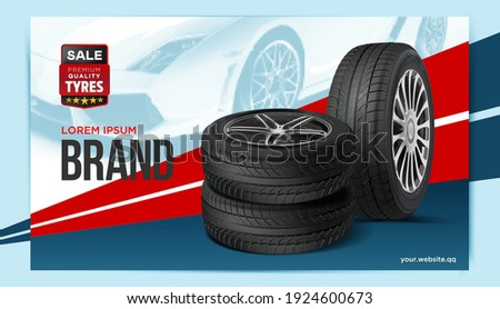 Car tire advertising poster. Black rubber tire. Realistic vector. Wheel tire tracks background design. Automotive banners template.
