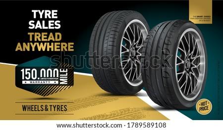 Car tire background. Vector automotive banner template. Grunge tire tracks backgrounds for landscape poster, digital banner, flyer, booklet, brochure and web design. Tire texture close up.