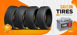 Car tire. Wheel black background. Website banner. Wheels store illustration.