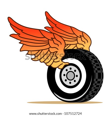 car tire with red wings