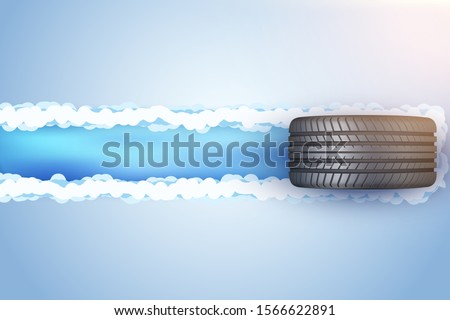 car tire with track trace on