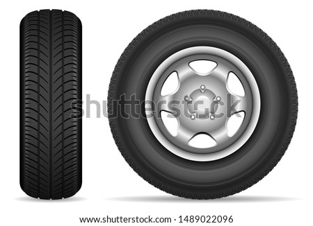 Car tires isolated on white background vector illustration