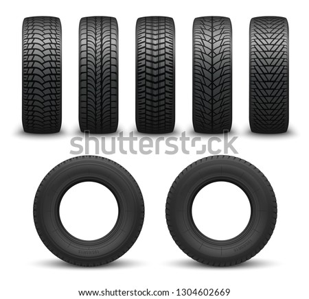Car tires or auto tyres 3d vector illustration. Automobile wheels with different tread patterns from side and front views. Tire shop, motor vehicle and transportation themes. Mixed media