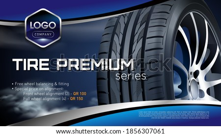 Car tires pile background. Tire stack. Group of tyres isolated. Change a car tires from summer for winter. Realistic vector. Information. Store. Action. Landscape poster, digital banner, flyer.
