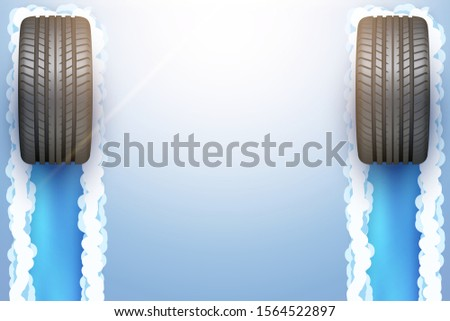 car tires with track trace on