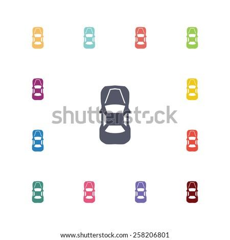 car top flat icons set open