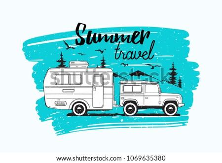 car towing caravan trailer or