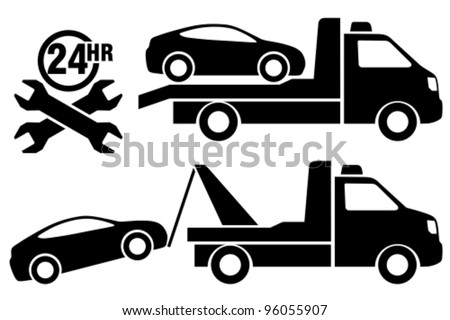 Car towing truck icon. - stock vector