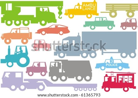 Car traffic colorful illustration vector collection