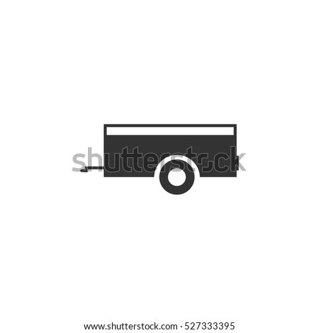 Car trailer icon flat. Illustration isolated vector sign symbol