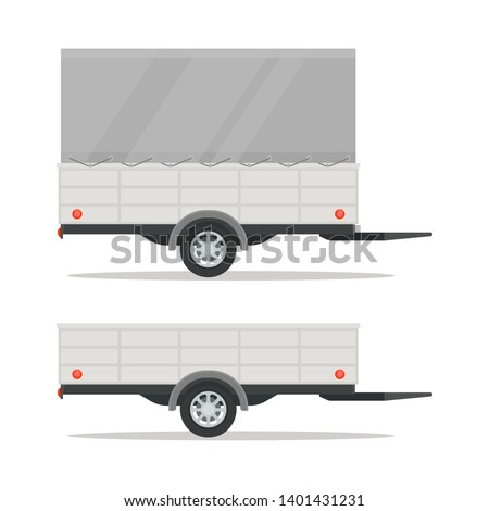 Car trailer with awning. Trailer template with blank area. Side view. Vector illustration, isolated white background. Flat style.