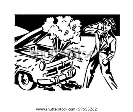 car trouble   retro clip art