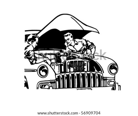 Car Tune-Up - Retro Clip Art - stock vector