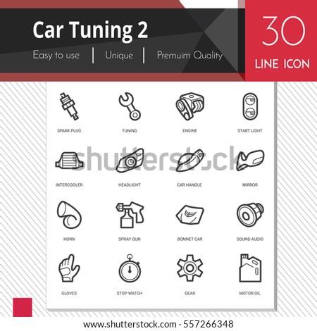 car tuning elements vector