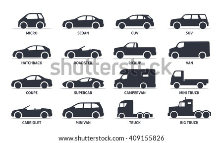 Car Type and Model Objects icons Set . Vector black illustration isolated on white background with shadow. Variants of automobile body silhouette for web.