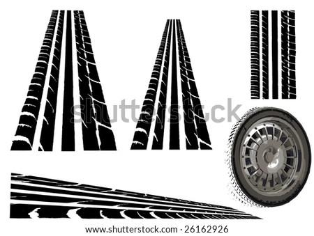 Car tyre and  Trye Tracks (Main Vector tesalates so you can create your own roads)