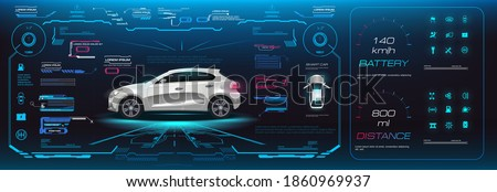 Car user interface HUD, GUI, UI. Options, settings, power supply of the car electrics. Virtual graphical interface with vehicle settings and characteristics. Autonomous driving on the road