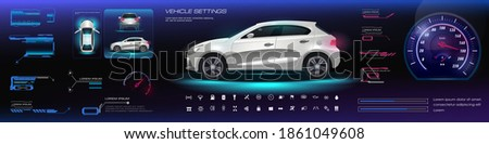 Car user interface HUD, GUI, UI. Road navigation. Virtual GUI with HUD style electric vehicle options  parameters. Realistic car three projections with video game interface, options, navigation bar Photo stock ©