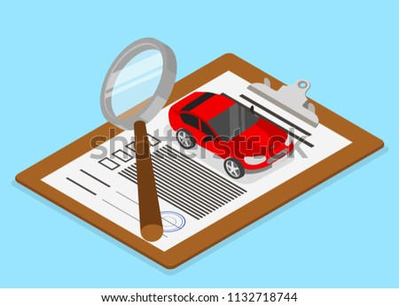 Car valuation and insurance. Isometric illustration with car and documents on blue background. Vector 3d design.