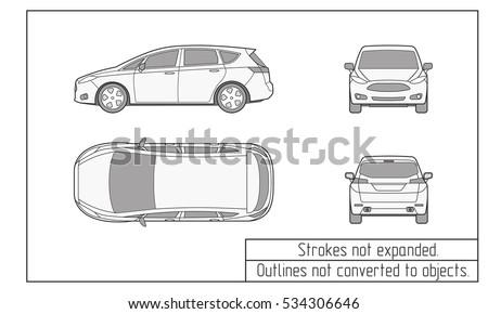car van drawing outline strokes