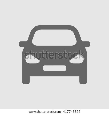 Car vector icon. Isolated simple front car logo illustration.