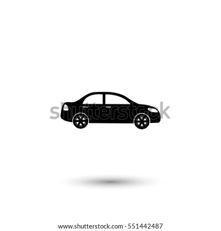 Car vector icon with round  shadow
