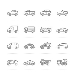 car vector line icons, minimal pictogram design, editable stroke for any resolution