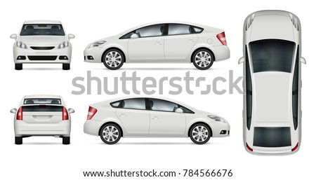 Car vector mock-up. Isolated template of car on white background. Vehicle branding mockup. Side, front, back, top view. All elements in the groups on separate layers. Easy to edit and recolor. #784566676