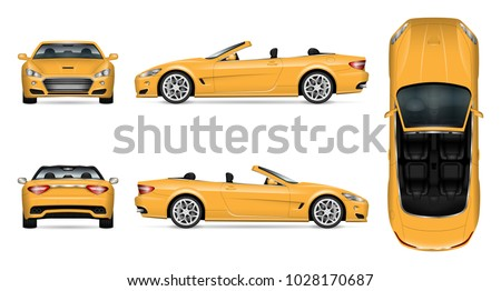Car vector mock-up. Isolated template of yellow cabriolet car on white. Vehicle branding mockup. Side, front, back, top view. All elements in the groups on separate layers. Easy to edit and recolor.
