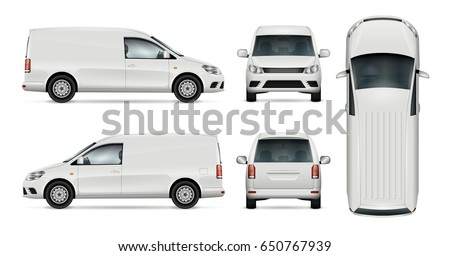 Car vector template for car branding and advertising. Isolated mini van set on white background. All layers and groups well organized for easy editing and recolor. View from side, front, back, top.