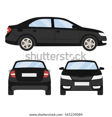 Car vector template on white background. Business sedan isolated. black sedan flat style.