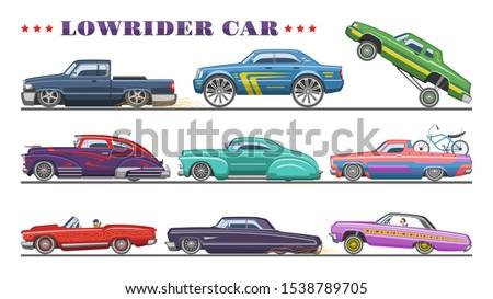 car vector vintage low rider