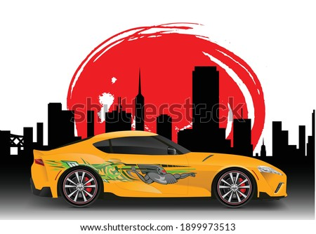 car vector with silhouette city